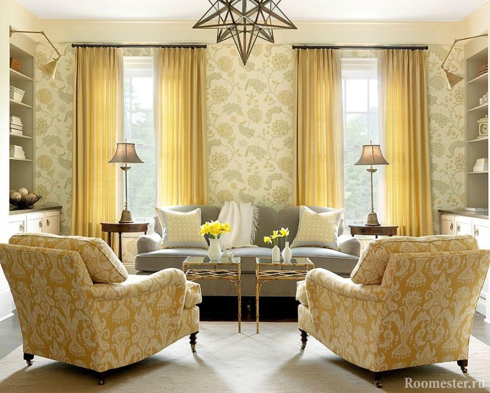 Комбинация из обоев и мебели в гостиной