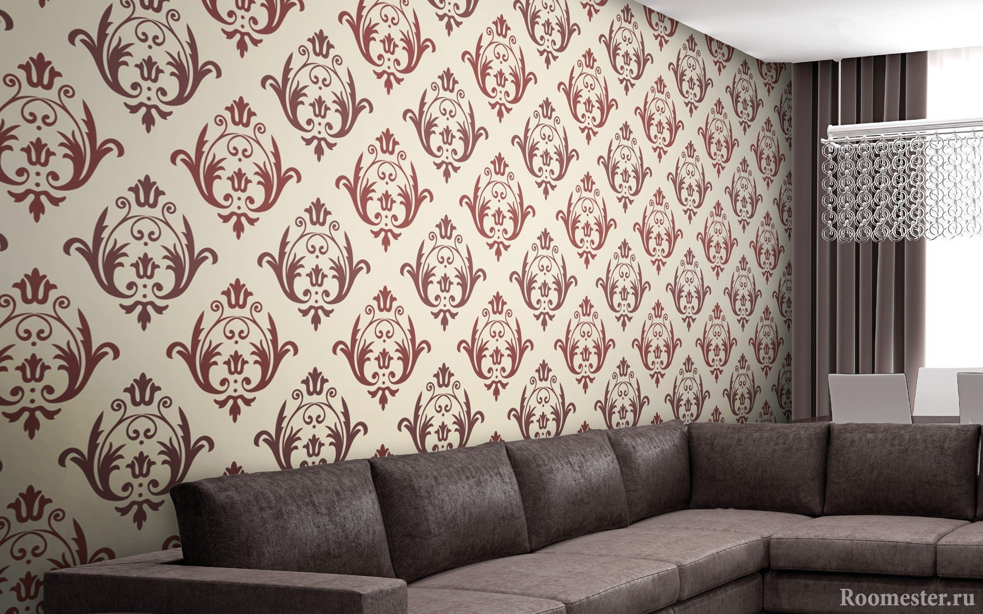 Дизайн-проект стены оклеянной обоями
