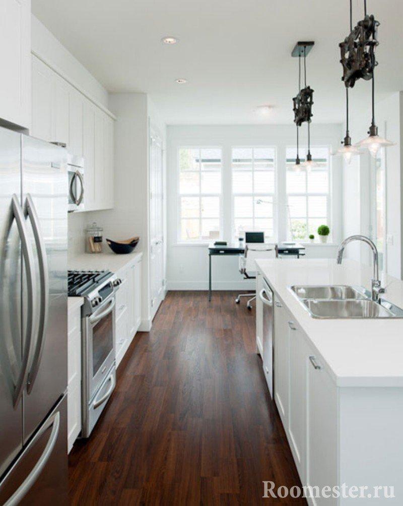Ламинат в кухне