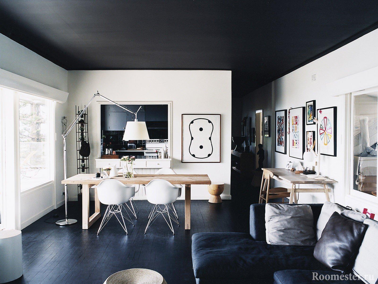 Черный пол и потолок