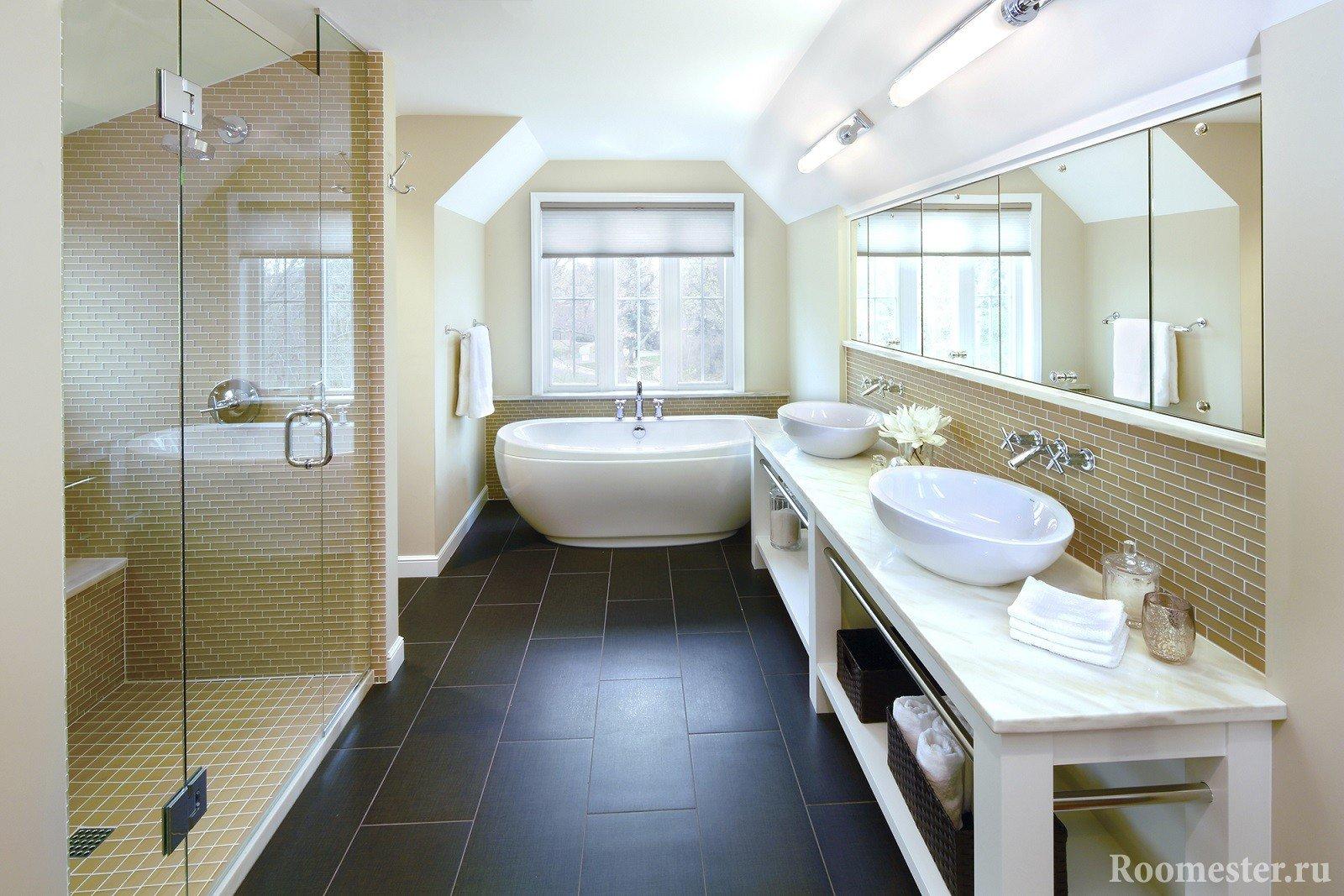 Темная плитка в ванной