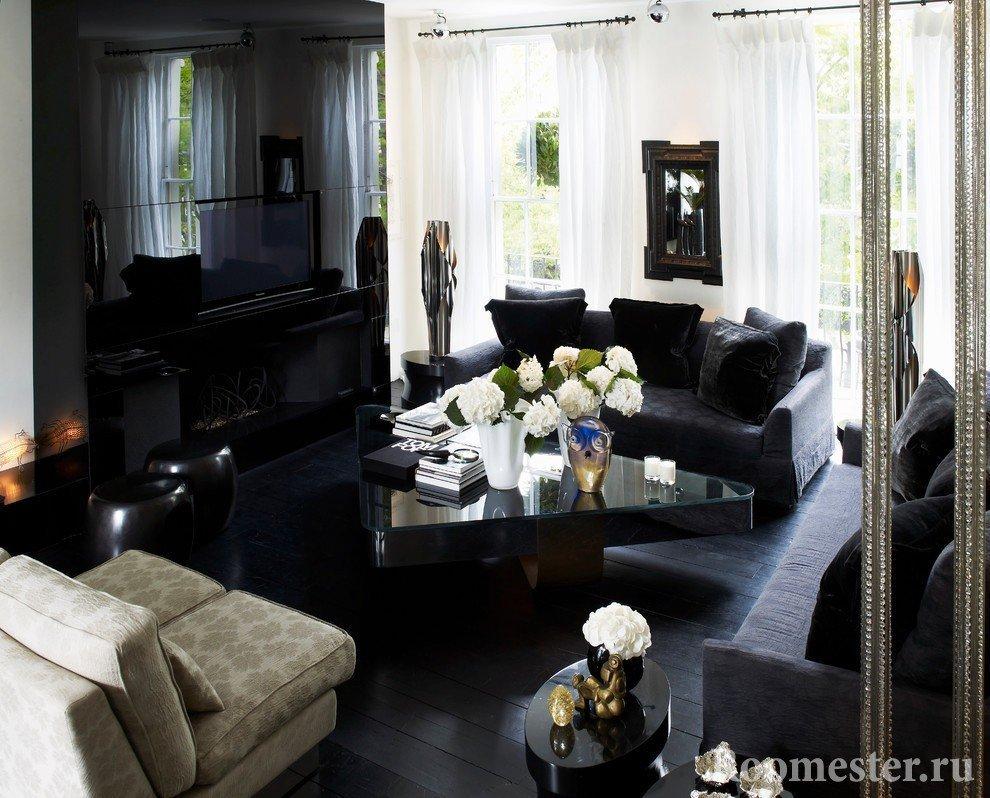 Черный пол в интерьере с черной мебелью