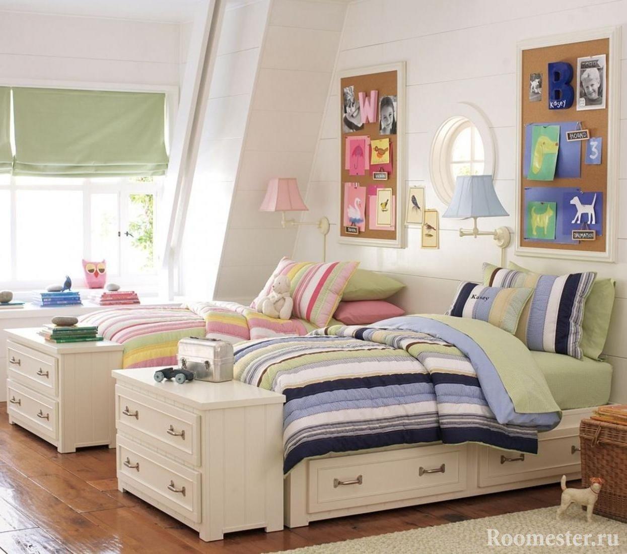 Интерьер детской комнаты для двоих детей фото девочки