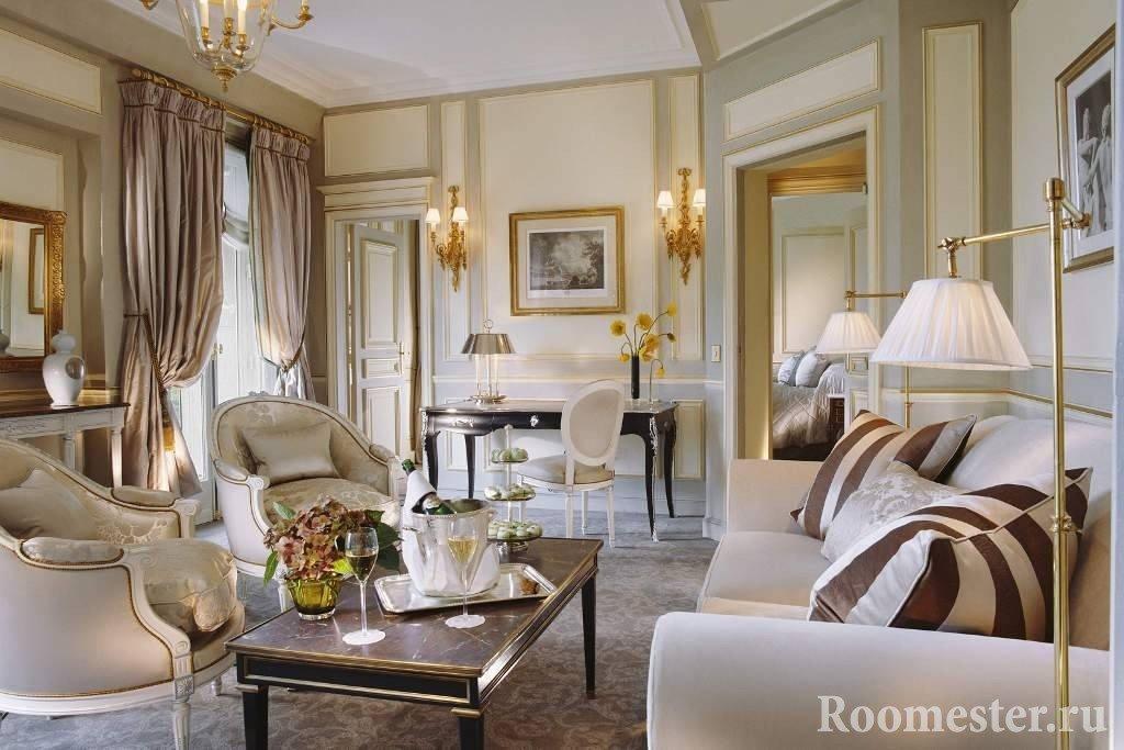 Гардины в стиле прованс в гостиной комнате
