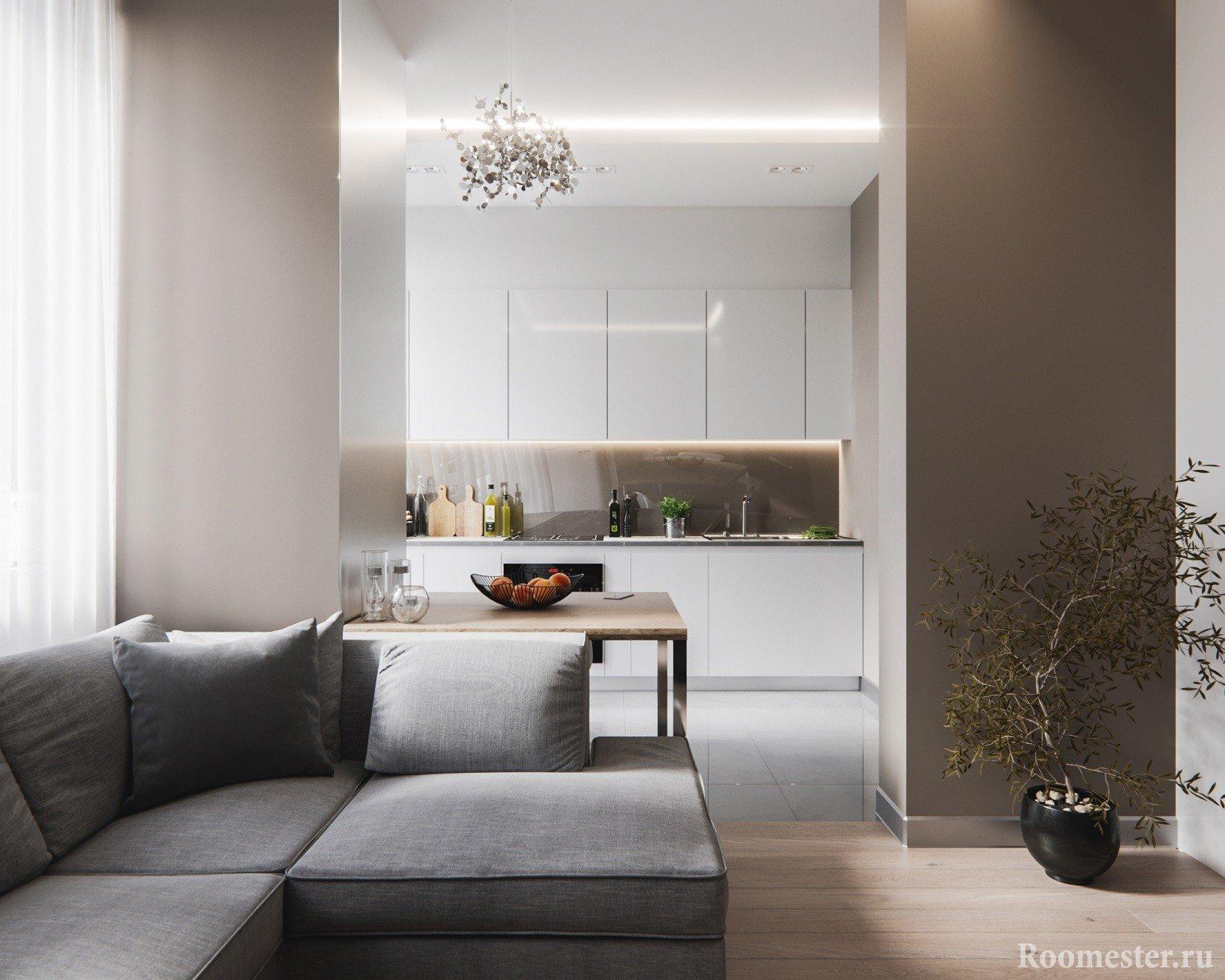 Вид на кухню из гостиной