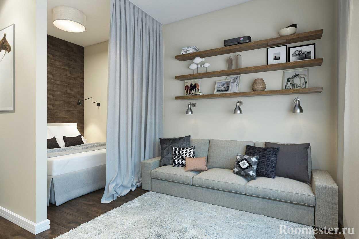 Спальню можно разместить в нише, если таковая имеется