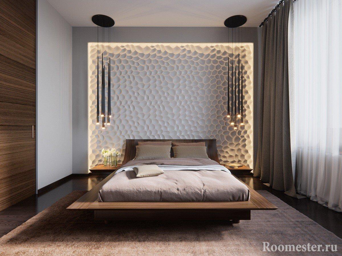 3Д панели на стене спальни с подсветкой