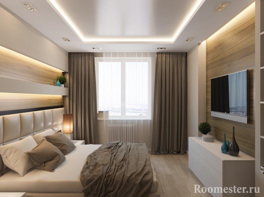Двухуровневый потолок в небольшой спальне