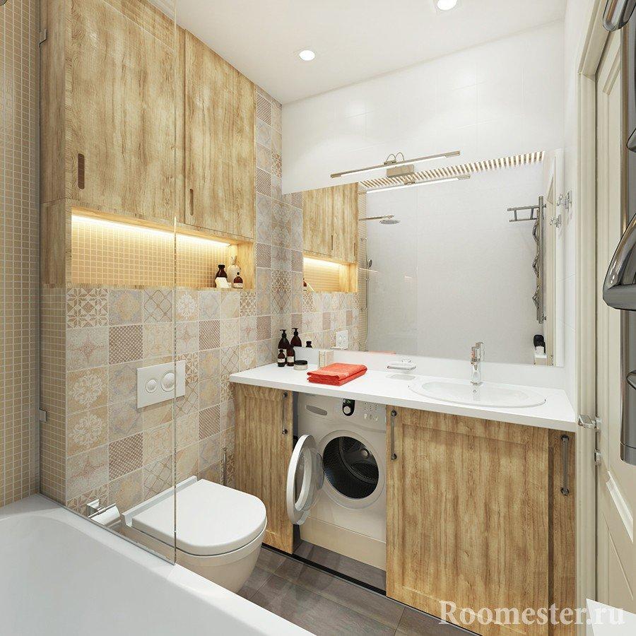 Стиральная машина под раковиной в ванне