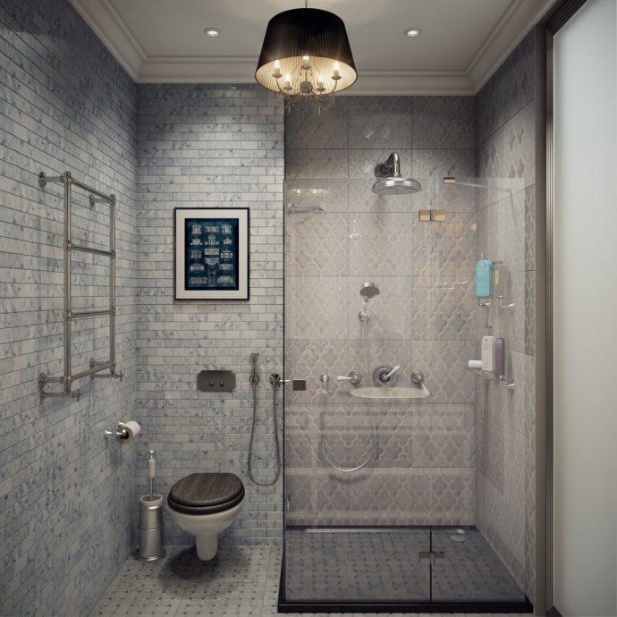 Дизайн туалета 4 кв.м. с душевой кабиной