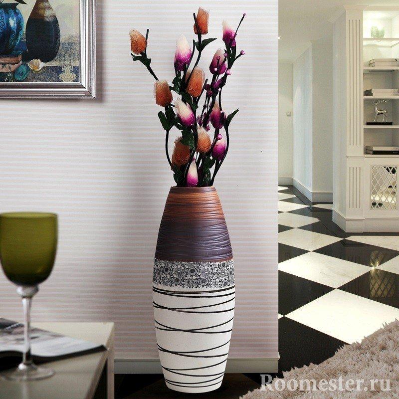 Напольные вазы с цветами своими руками фото