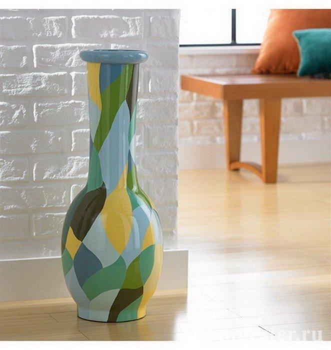Стеклянная ваза разноцветная