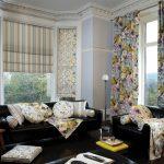 Римские и обычные шторы в комнате