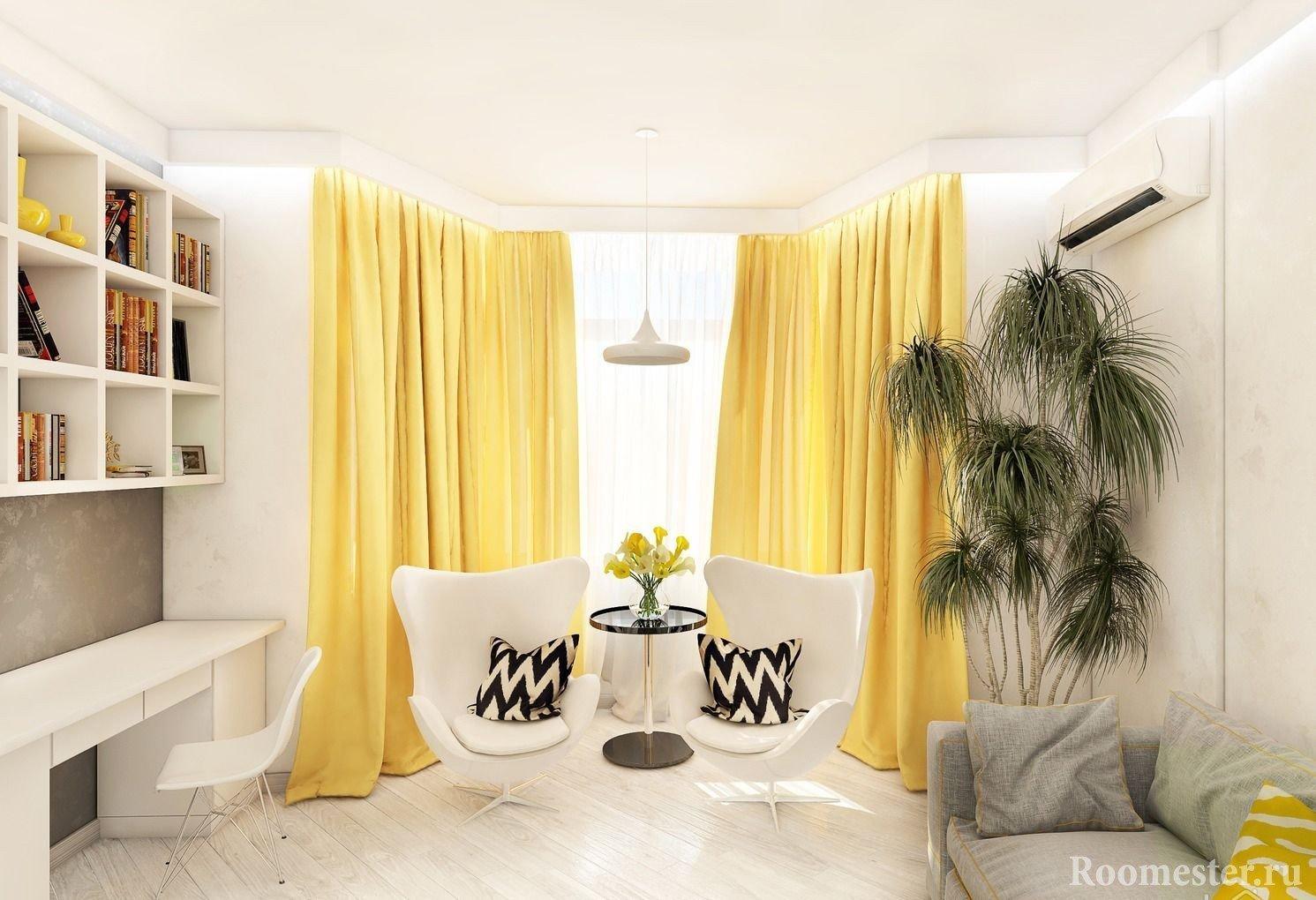 Желтые шторы в белой гостиной