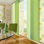 Японские шторы зеленых оттенков