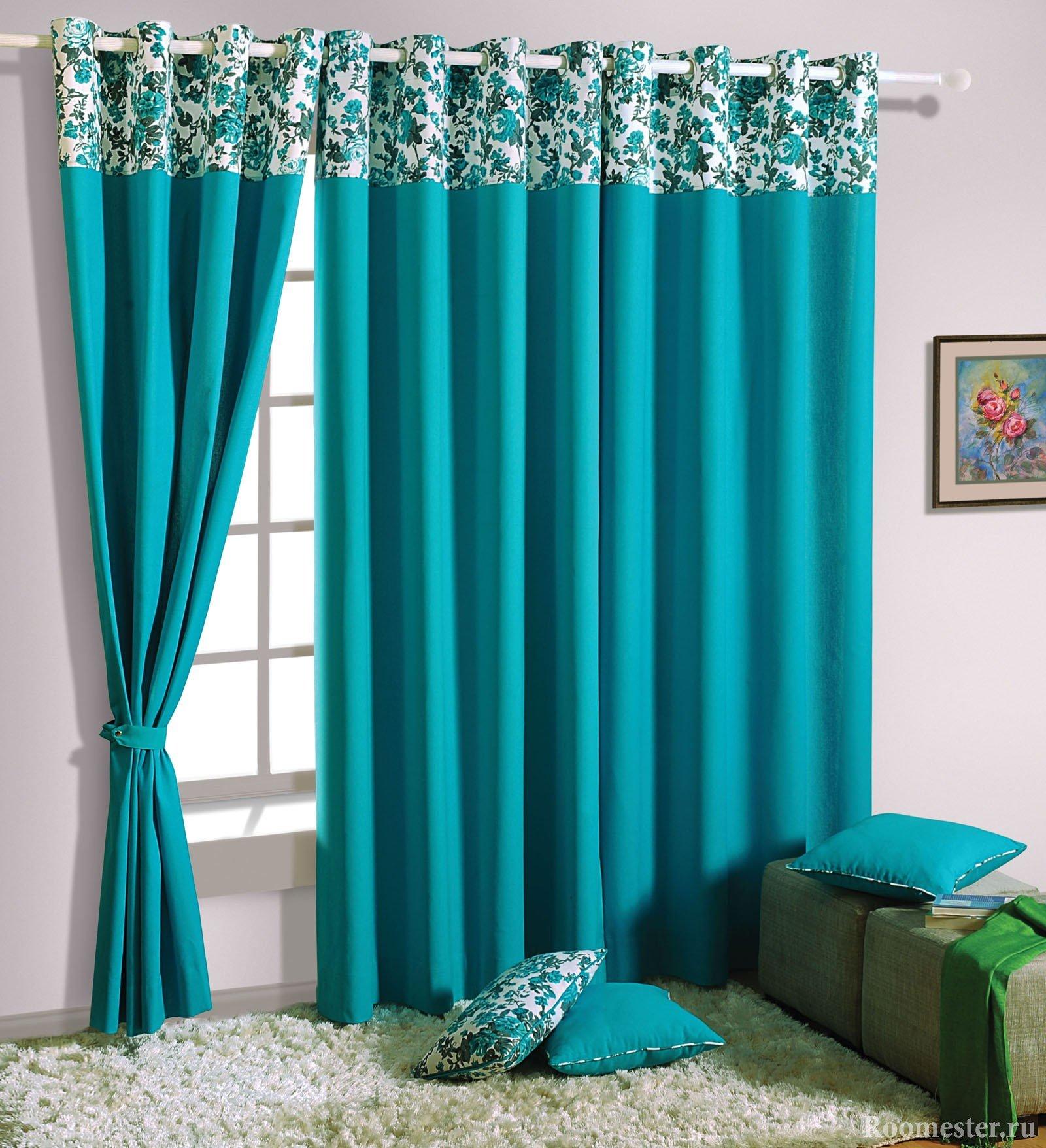 Одноцветные шторы с украшенной узором верхней частью