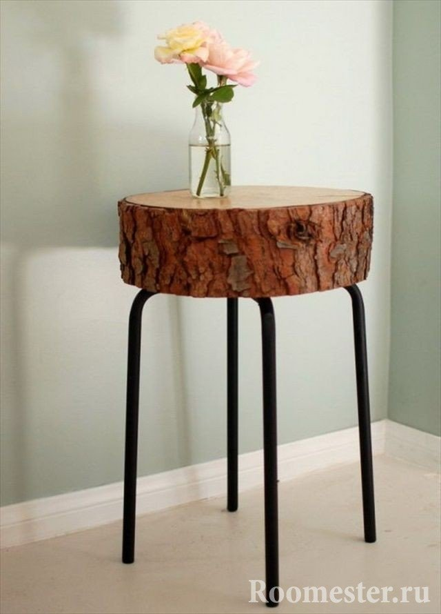 Стол-подставка из бревна