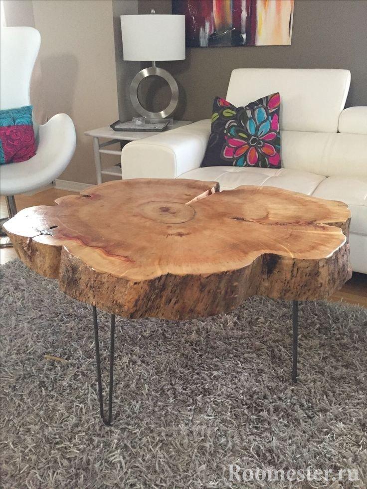 Большой журнальный стол из натурального спила дерева