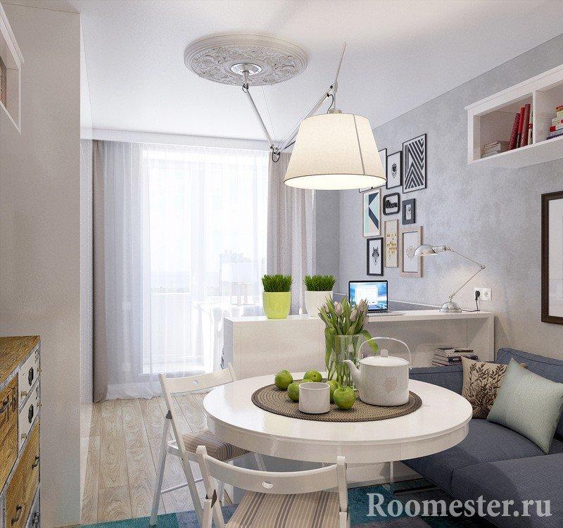 Зонирование комнаты на гостиную комнату и спальную