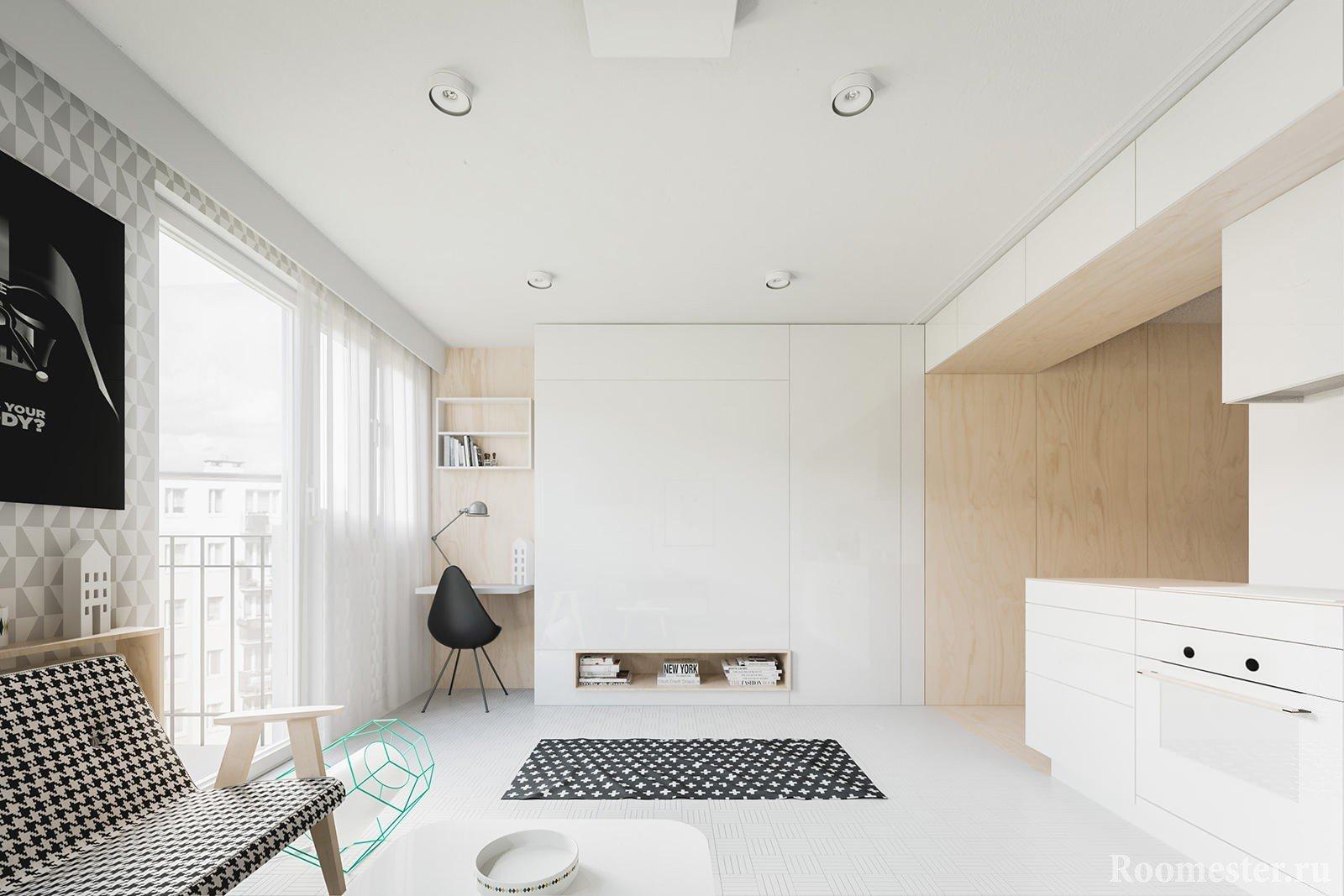Студия с панорамными окнами в белом цвете