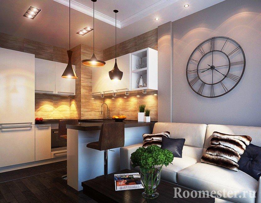 Полноценная кухня в квартире-студии на 20 метрах