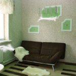 Белые шкуры на полу и диване