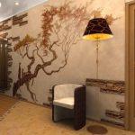 Раскидистое дерево на стене комнаты