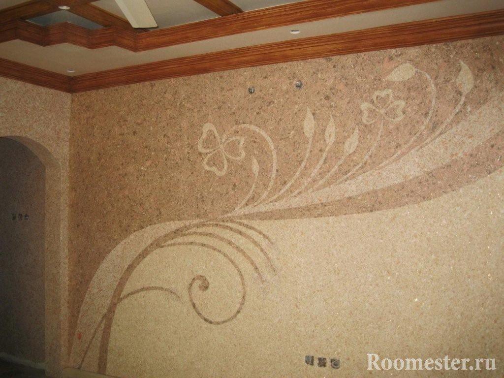 Узор в виде растений на стене