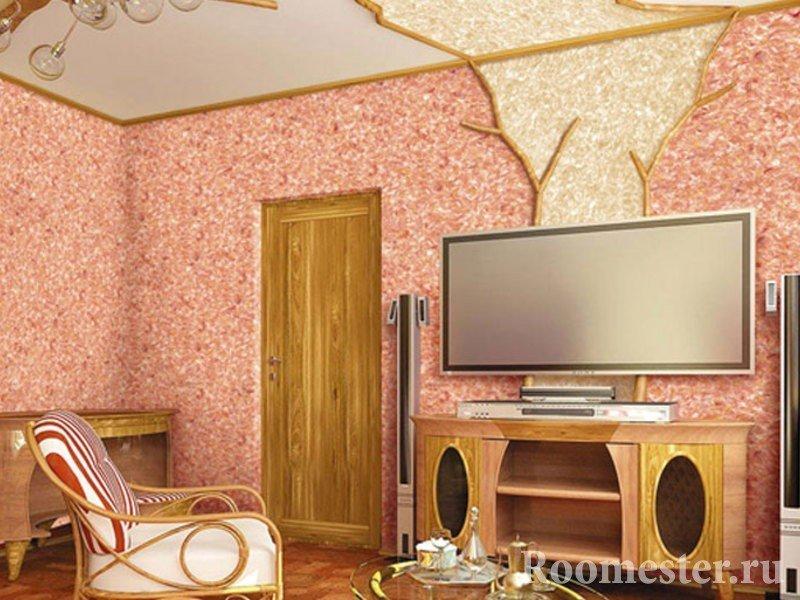 Интерьер комнаты с элементами натурального дерева