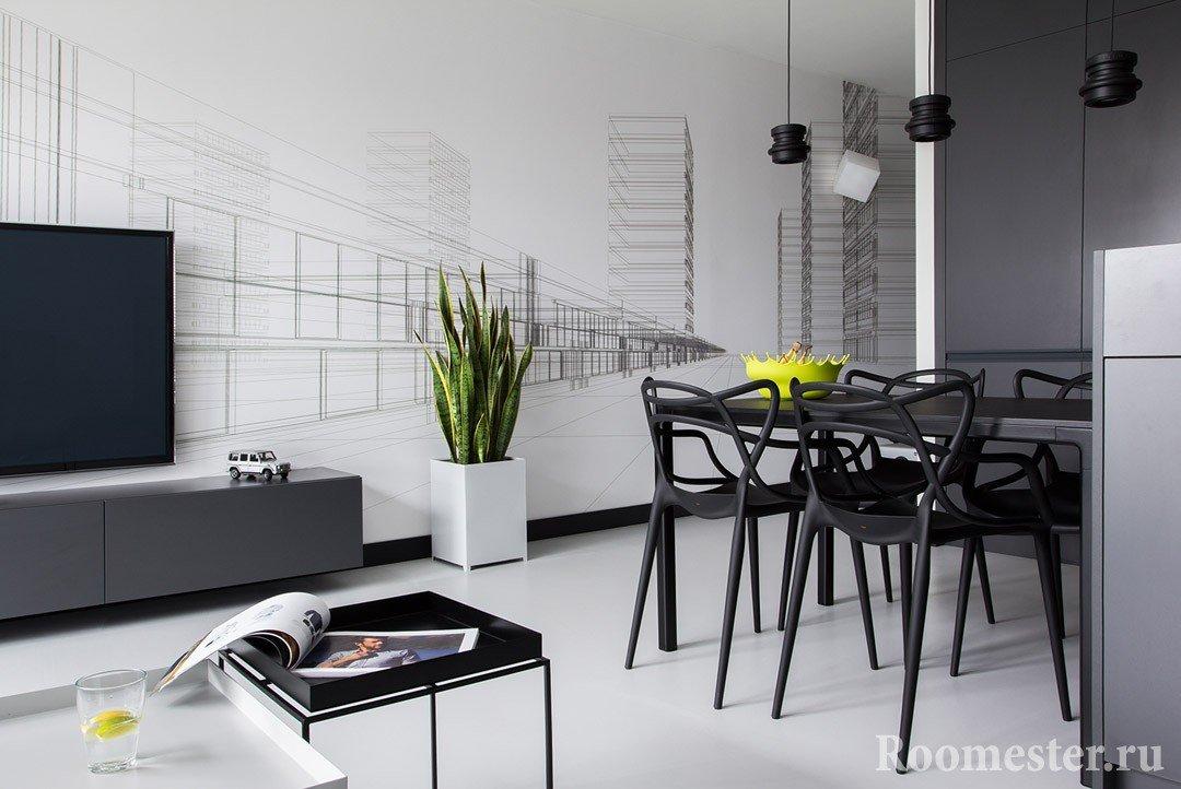 Пейзаж мегаполиса на стене в столовой