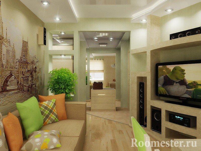 Яркое оформление интерьера комнаты
