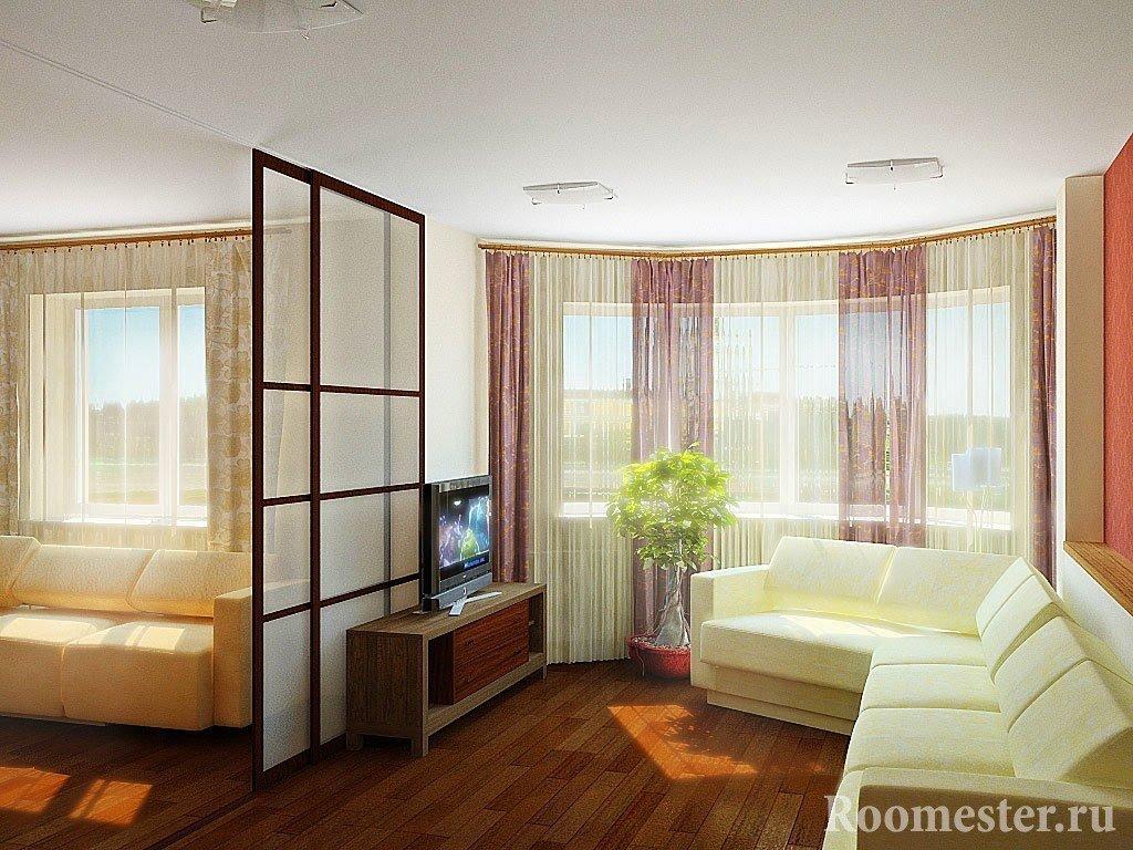 Белый диван в сочетании с коричневым полом
