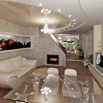 Интересное оформление потолка в гостиной