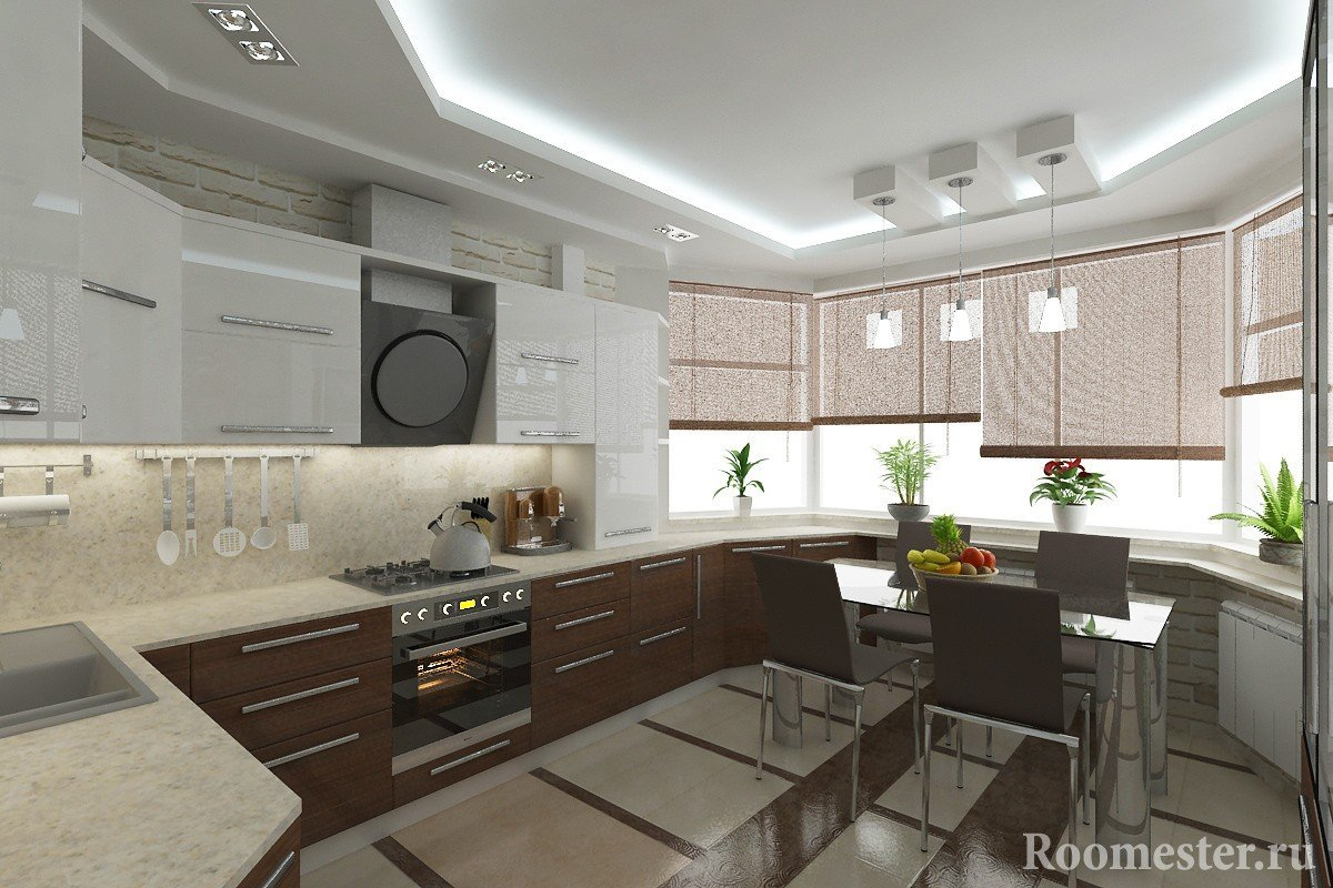 Дизайн кухни с эркером — фото примеры планировки