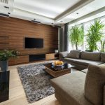 Столик и диваны напротив телевизора