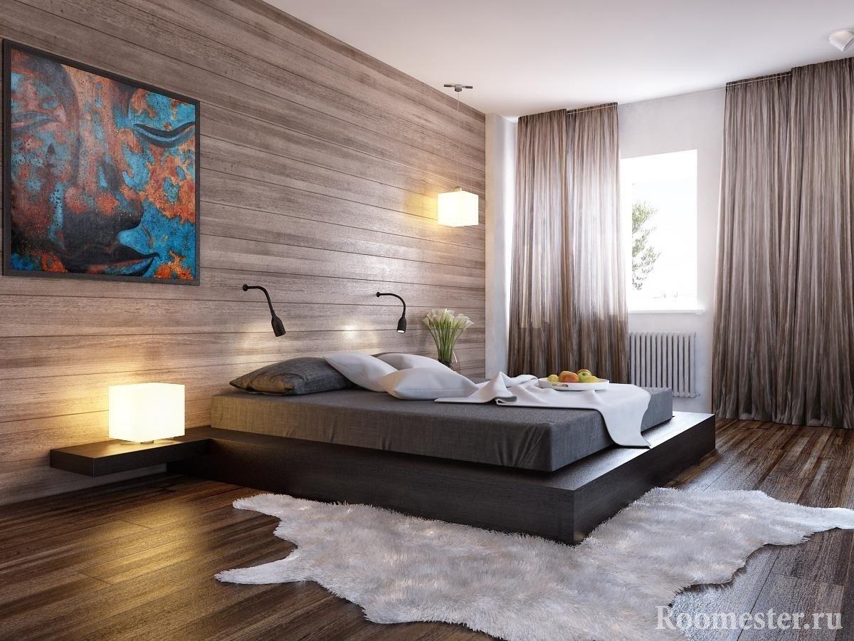 Шкура на полу в спальне