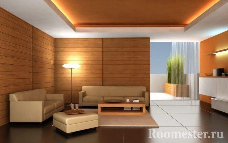 Интерьер со светлой мебелью и стенами под дерево
