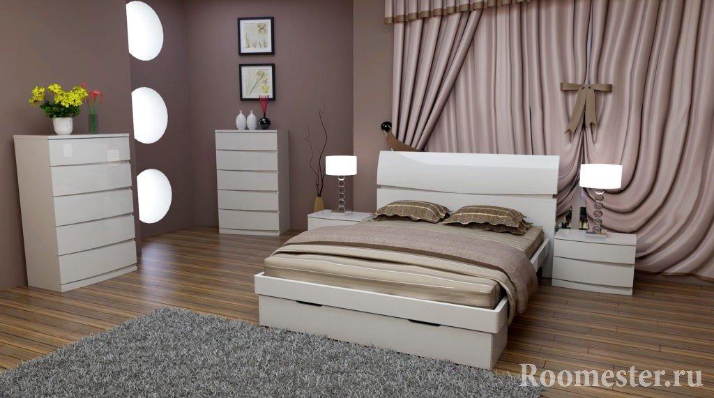 Светлая мебель в сочетании с темными стенами