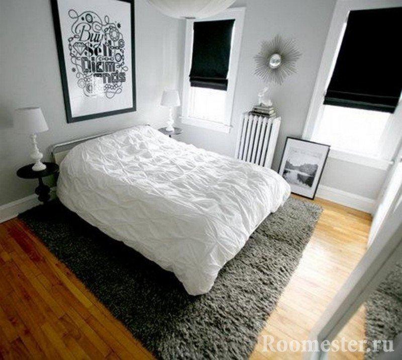 Сочетание серого ковра и белых стен