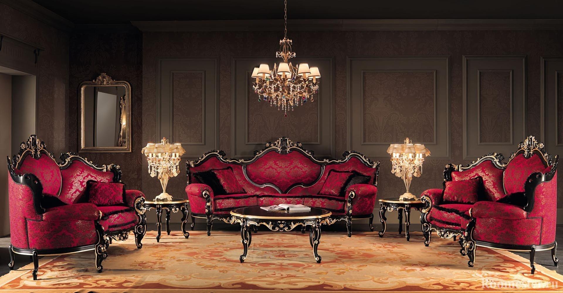 Черно-бардовая мебель в зале