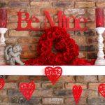 Полка с ангелами, розами и сердцами