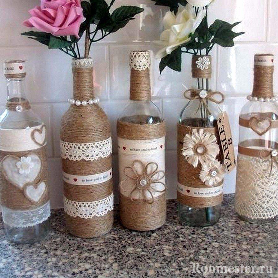 Декорирование бутылки своими руками мастер класс 70