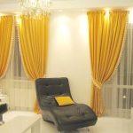Желтые шторы в белом интерьере
