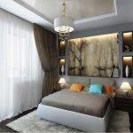 Картина и полки с подсветкой в спальне