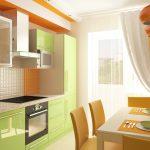 Оранжево-фисташковая кухня