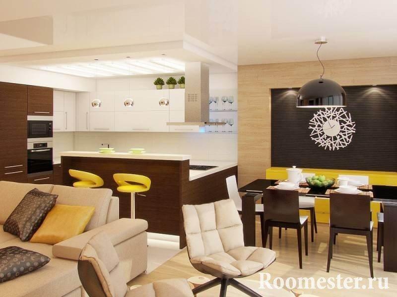 Дизайн гостинной и кухни его