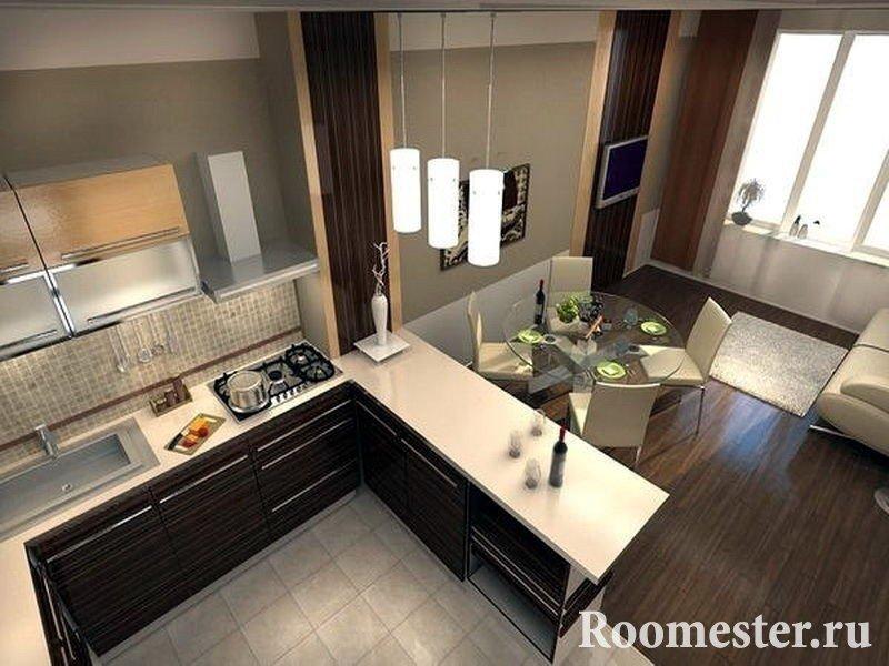 Кухонный стол вид сверху