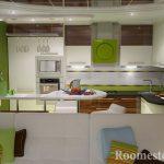 Мебель на кухне в зеленых тонах