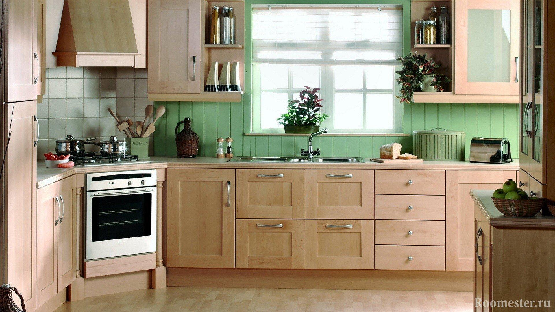 Стены из досок на кухне