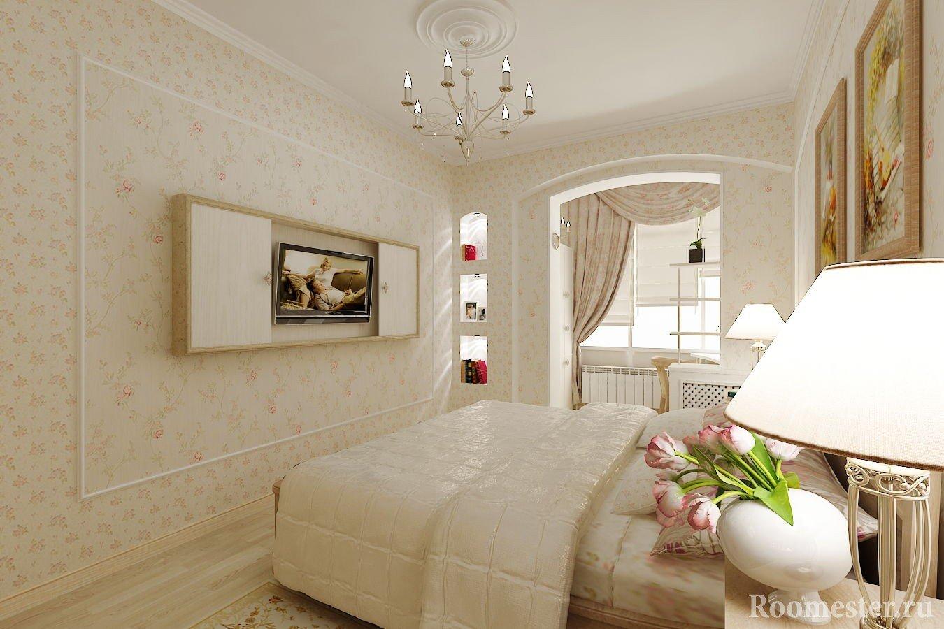 Люстра со свечами в спальне
